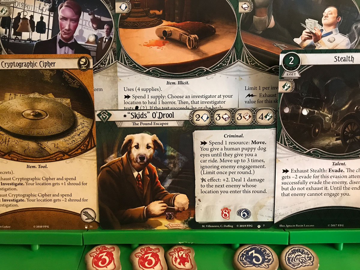 Skids and an Interesting Selection of Cards in Arkham Horror: The Card Game